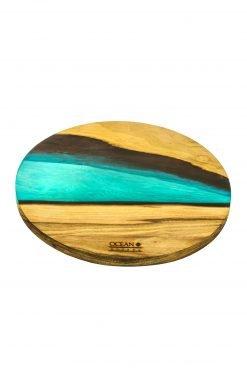 Epoxidharz Untersetzer Rund Turquoise